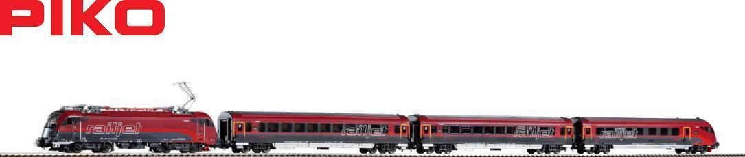 画像1: 鉄道模型 ピコ PIKO 58131 Railjet レイルジェット Rh 1216 電気機関車+客車3両セット H0ゲージ