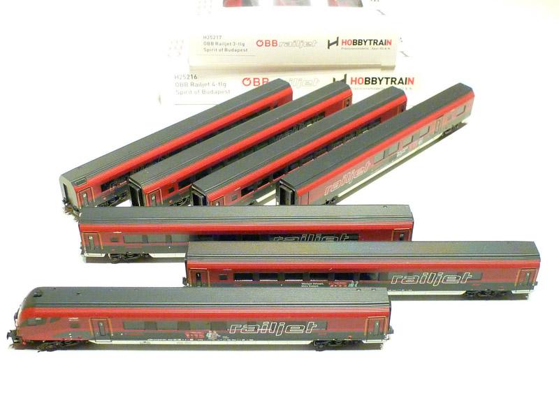 画像1: 鉄道模型 ホビートレイン HobbyTrain H25216/H25217 Railjet レイルジェット 客車7両セット Nゲージ