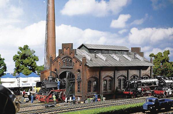 画像1: 鉄道模型 ファーラー Faller 120159 Locomotive shed/engine workshop 機関庫 HOゲージ