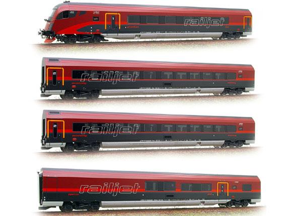 画像2: 鉄道模型 ロコ Roco 64022 -  RAILJET レイルジェット 客車4両セット HOゲージ