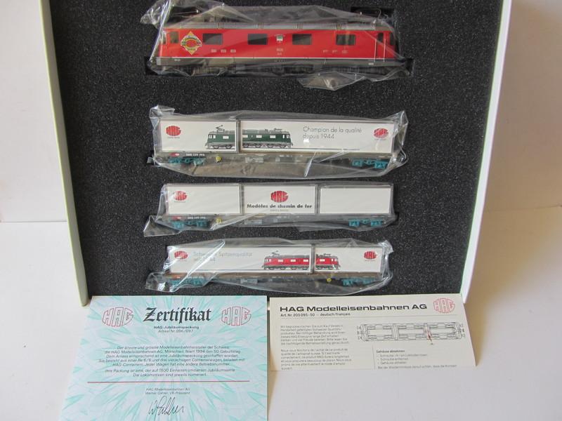 画像1: 鉄道模型 ハグ HAG 097 Re 6/6 電気機関車 コンテナ貨物セット 50周年限定品 HOゲージ