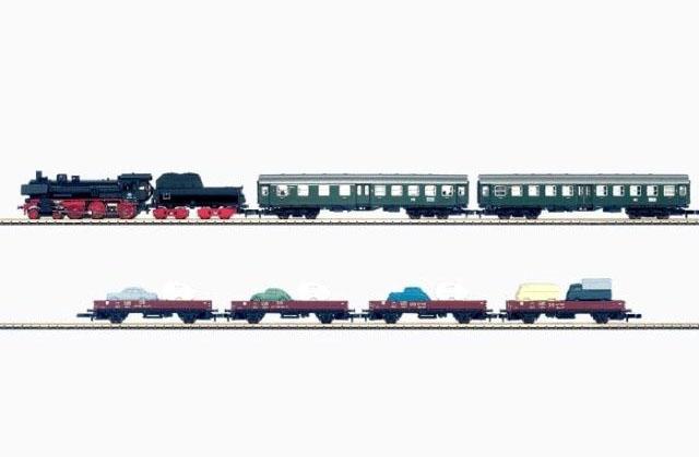 画像1: 鉄道模型 メルクリン Marklin 81428 ミニクラブ mini-club DB BR38 蒸気機関車 混合列車セット Zゲージ