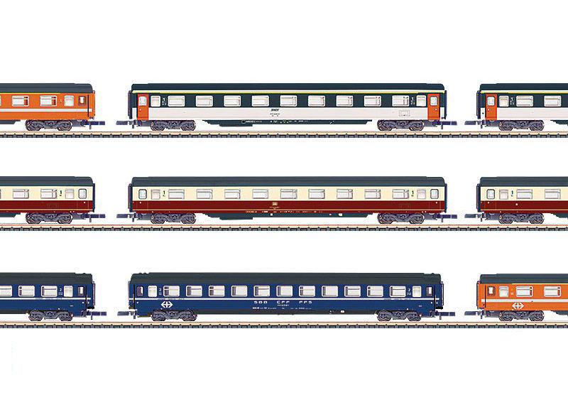 画像1: 鉄道模型 メルクリン Marklin 87409 ミニクラブ mini-club Eurofima 客車 9両セット  Zゲージ