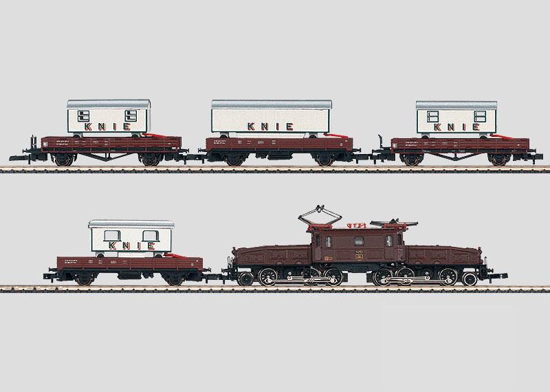 画像1: 鉄道模型 メルクリン Marklin 81433 ミニクラブ mini-club SBB Be 6/8 クロコダイル電気機関車貨物列車セット Zゲージ