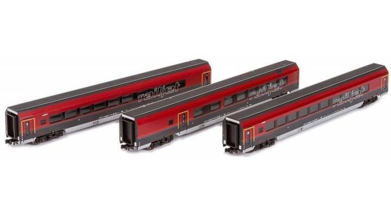 画像1: 鉄道模型 ホビートレイン HobbyTrain H25217 Railjet レイルジェット 客車3両セット Nゲージ