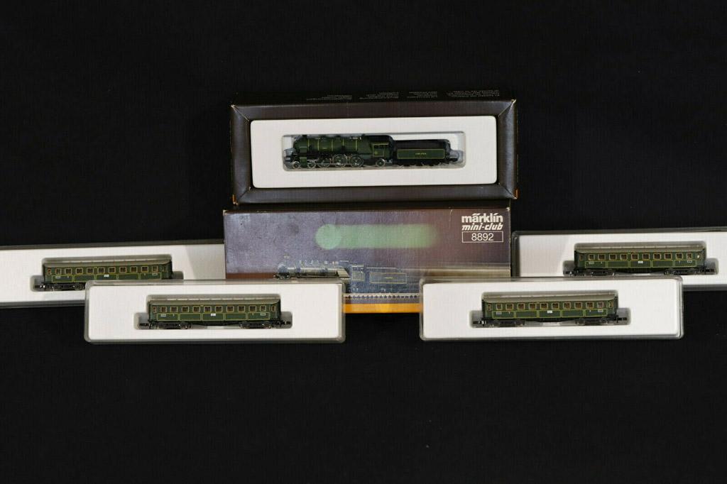 画像1: 鉄道模型 メルクリン Marklin 8892 mini-club ミニクラブ Dampflok S 3/6 + 8730 蒸気機関車+客車4両セット Zゲージ