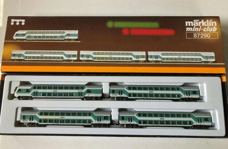 画像1: 鉄道模型 メルクリン Marklin 87290 ミニクラブ mini-club 2階建て客車4両セット Zゲージ